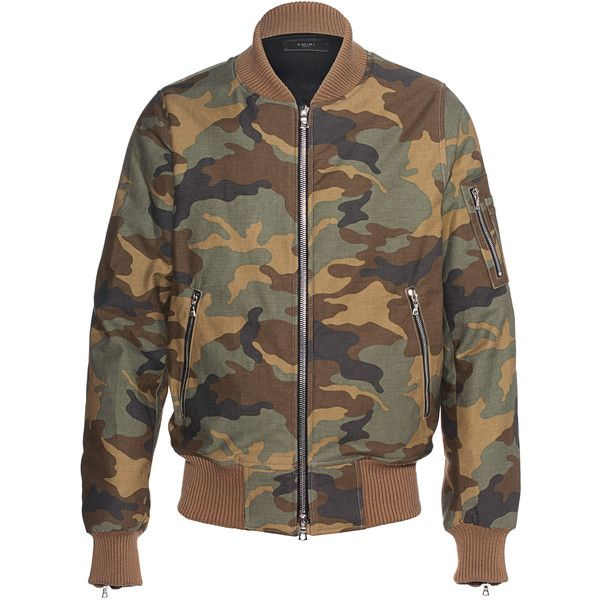 Amiri Camo Bomber Oliv // Cotton military bomber jacket ($2,185) ❤ liked on Polyvore featuring men's fashion, men's clothing, men's outerwear, men's jackets, mens bomber jacket, mens slim jacket, mens cotton jacket, mens green military jacket and mens urban jackets