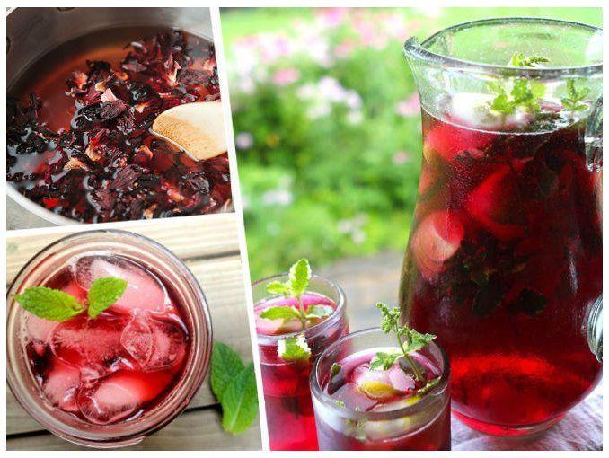 AGUA DE JAMAICA PARA ADELGAZAR Y DESINTOXICAR 1 litro de agua 1 pieza de canela en rama 1 taza de flor de jamaica 1 taza de fresas Suficiente hielo  Instrucciones:  Hervir el agua con canela, hasta que suelte un fuerte aroma. Licuar la taza de fresas con un poco de agua, colar y vertir.  Añadir la taza de jamaica durante 10 minutos aproximadamente, retirar y dejar enfriar. Agregar suficiente hielo y servir.