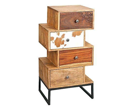 Cassettiera con 4 cassetti sfalsati in legno massello - 50x96x40 cm