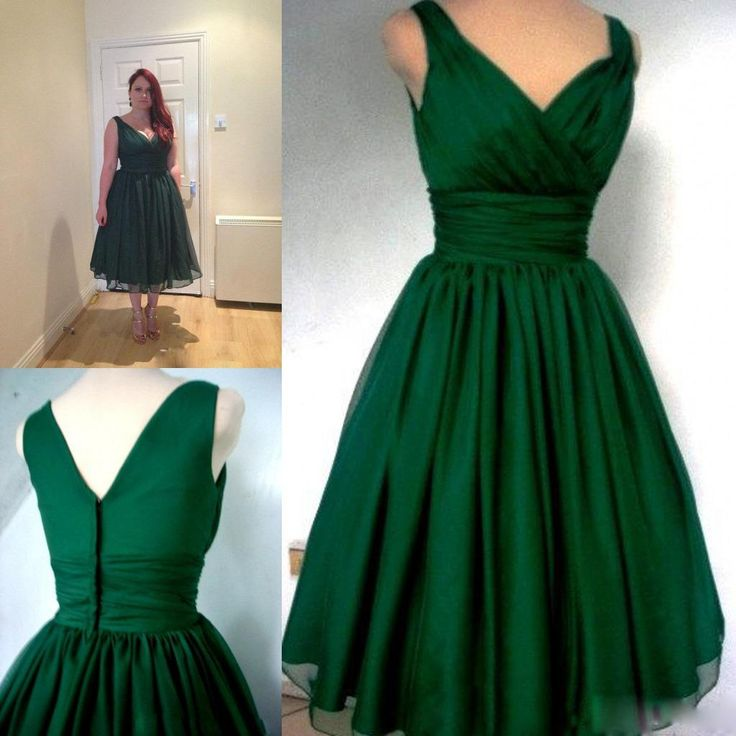 Green retro cocktail dress