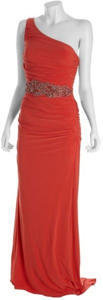 Badgley Mischka Coral Ruched Knit Jersey One Shoulder Gown W/ Beaded Belt in Pink (coral)