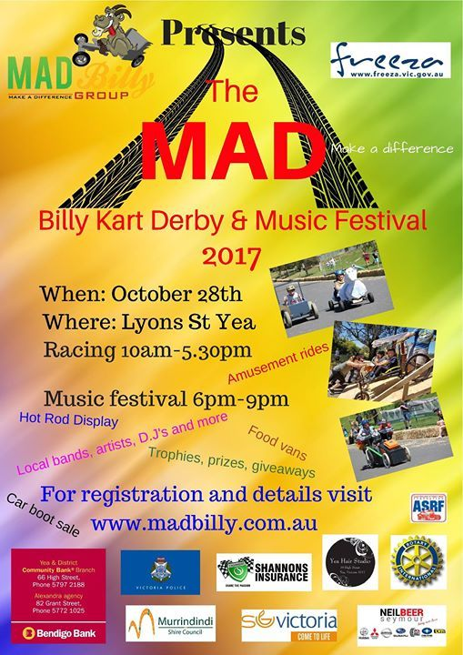 The MAD Billy Kart Derby & Music Festival 2017 More @ madbilly.com.au #billykartderby #musicfestival #festival