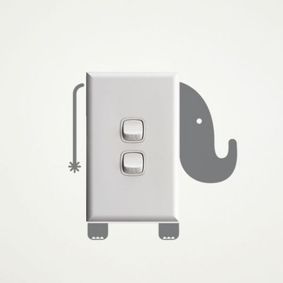 Elephant wall sticker for light switches @alikatcarter maybe you can make this