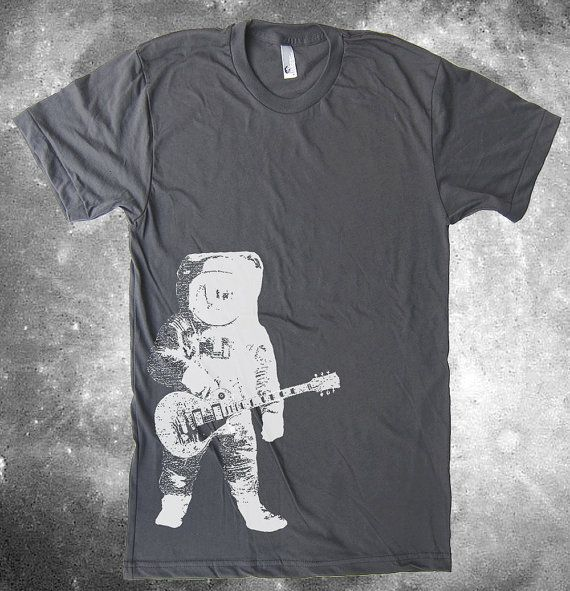 Man on the Moon T-Shirt Astronaut Guitar Space Tshirt by lastearth