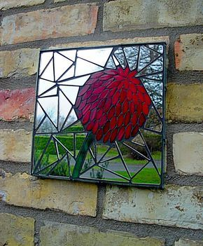 """Mosaic mirror (9"""" sq). Handmade using stained glass and recycled mirror."""