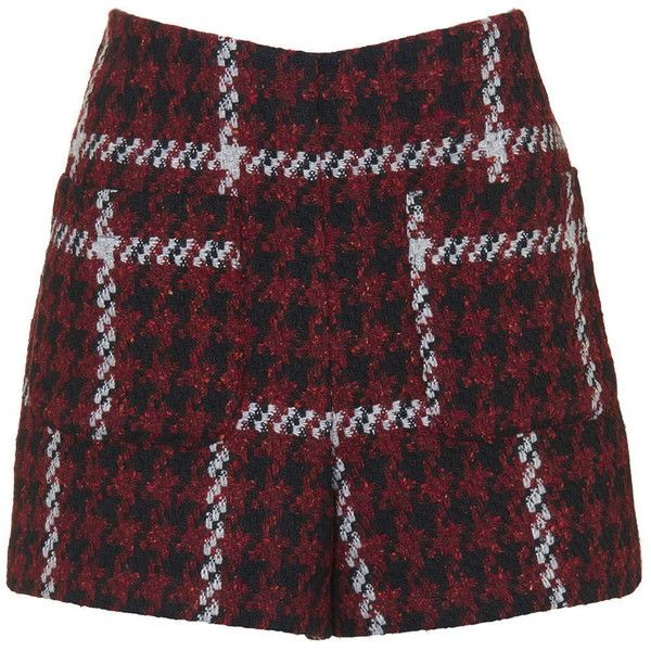 TOPSHOP Premium Boucle Shorts ($37) ❤ liked on Polyvore featuring shorts, skirts, topshop, burgundy, checkered shorts, topshop shorts and burgundy shorts