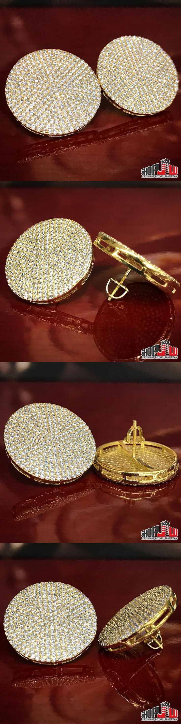 Earrings Studs 14085: Mens 14K Yellow Gold Plated Screw Back Earrings 25Mm Large Big Round Iced Out -> BUY IT NOW ONLY: $50 on eBay!