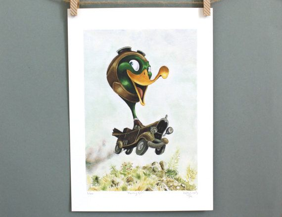 Such a cute print for a little boy's room. He'll treasure it forever. Classic car art print by #TerrapinAndToad