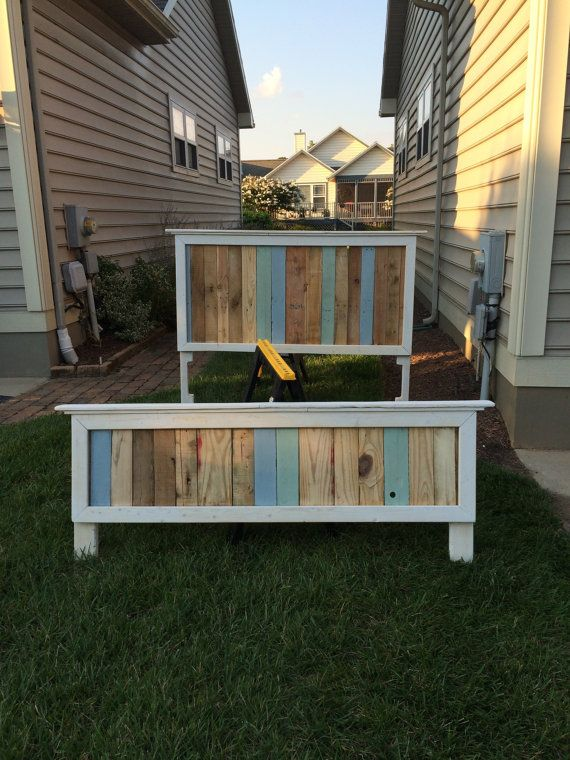 Reclaimed Wood Pallet Headboard and Footboard by 180GritWorkshop