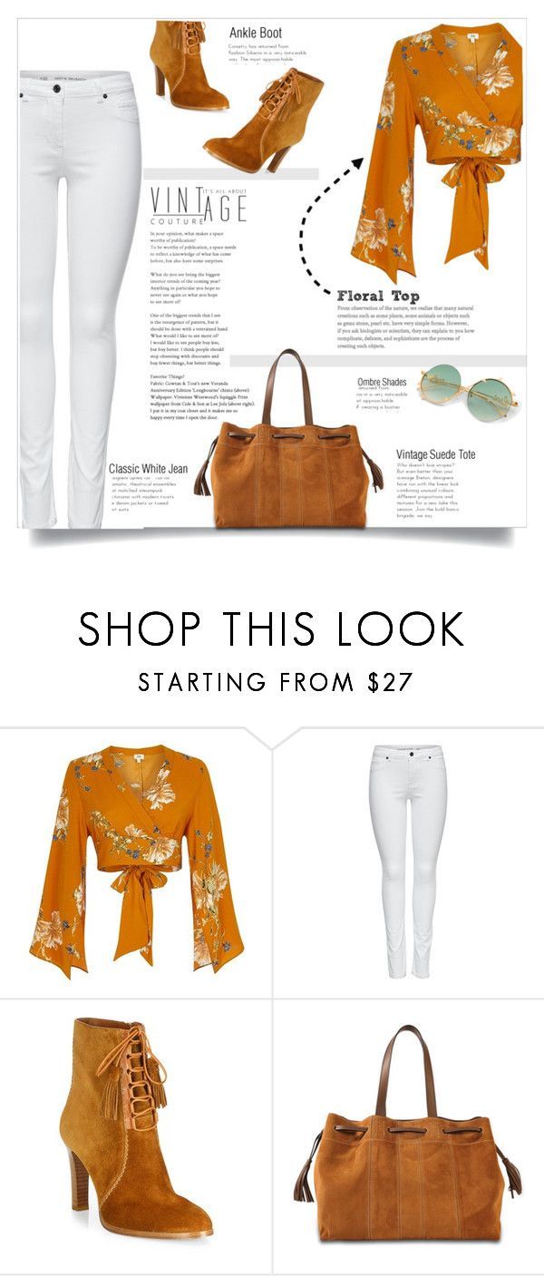 """""""Vintage Style - Floral Top, Ankle Boots"""" by diane-888 ❤ liked on Polyvore featuring River Island, M&Co, Michael Kors, Gérard Darel and vintage"""
