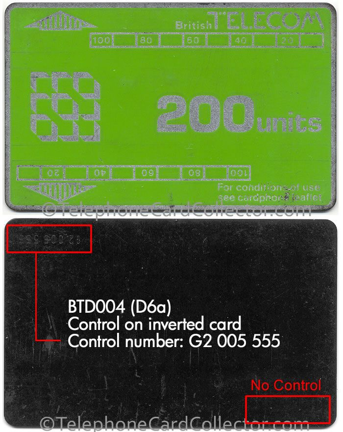 The control number on this Phonecard (BTD004 / D6a) has been applied to an inverted card, i.e. when the card is turned over like a page of a book, the number appears inverted in the top left corner of the reverse, rather than the right way up in the bottom right corner as was usual at the time.