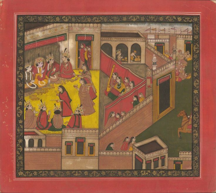 Rama Ramayana Folk Painting.  Feel the magic of Lord Rama & his brothers in this colorful painting depicting an episode from the Ramayana.   In this artwork, Lord Rama along with his 3 brothers (Lakshmana, Shatrughna & Bharata)  are shown at Janakpur (Lady Sita's parental home).