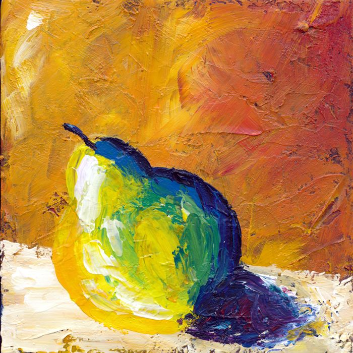 Trio of Pear 20x20cm Acrylic on board $85 for set of 3 pears