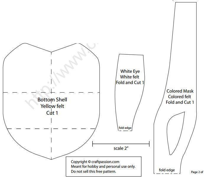 Patrón y guía para aprender paso a paso muy fácilmente como hacer muñecos Ninja con calcetines. Usar colores de calcetines de camuflaje verde. Fieltro en color rojo, marrón, amarillo y blanco. Relleno. Tijeras. hilo. agujas. Botones de color negro – para el ojo de las tortugas. Marcador de la tela.  Fuente:http://www.craftpassion.com/ http://marrietta.ru/ …