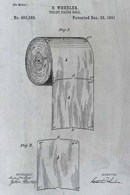 Un détail du brevet du rouleau de papier toilette, inventé par Seth Wheeler.
