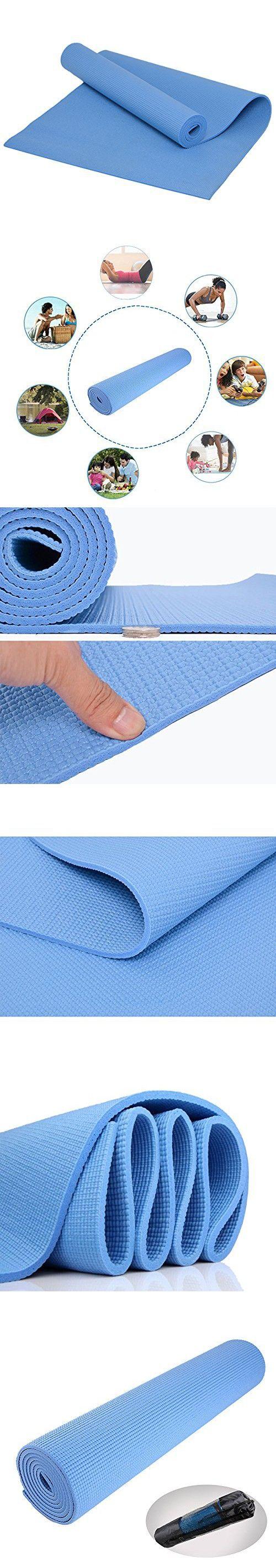 "Yoga Mat with Carry Bag, Evaline Anti-Slip High Density Anti-Tear Exercise Yoga Mat Extra Thick 1/4"" (6mm) Light Blue 68x24 inchYoga Mat (Light Blue 68x24inch)"