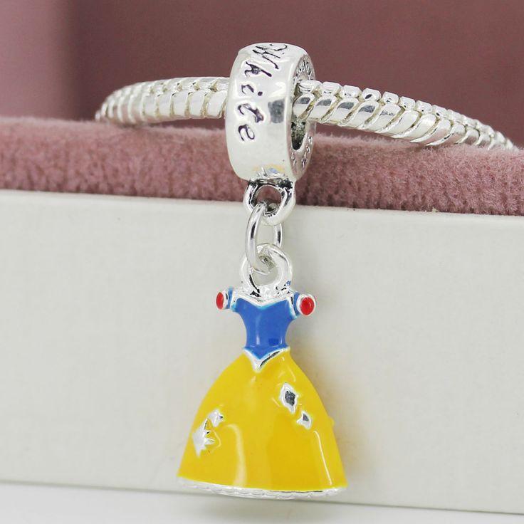 New European Silver Plated Bead Charm Lovely Princess Cinderella Dress DIY Pendant Fit Women Pandora Bracelets & Bangles yw15777