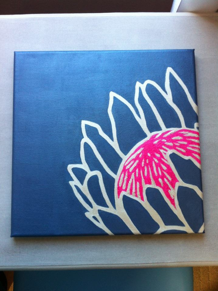 Protea painting on canvass.