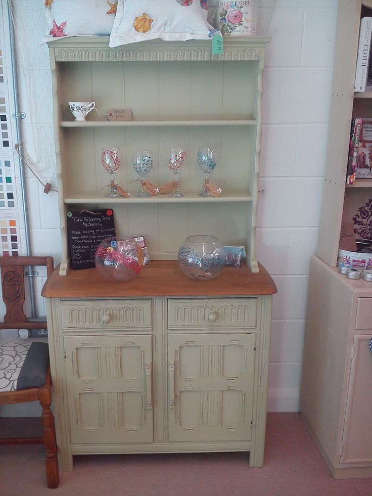Small dresser with stripped/sanded and oiled top, slight distressed look to the paint work, painted in Scandinavian blue inside.