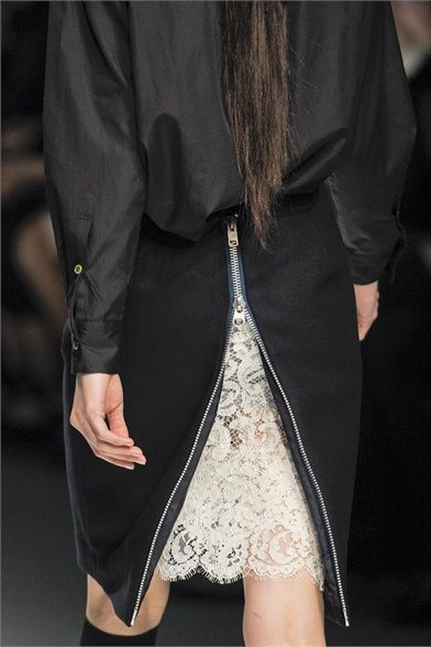 Black skirt with zipper back & a glimpse of ivory lace, fashion details // Sacai Fall 2012