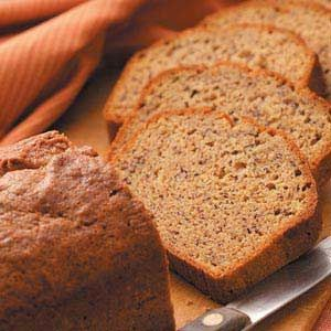 Moist Banana Bread Recipe.     I substitute dark chocolate chips instead of nuts, and applesauce instead of oil. I'm eating a fresh batch of muffins made with this recipe now. Sooo good.