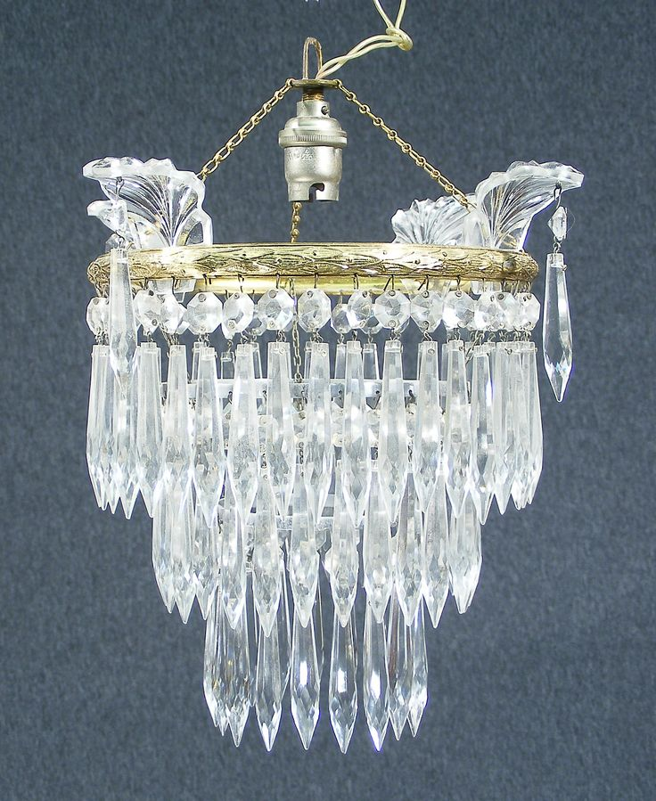 A gorgeous vintage french cut glass crystal waterfall coronet chandelier probably dating to the 1920s 1930s fabulous cascade waterfall design with
