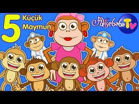 Beş Küçük Maymun | Five Little Monkeys Türkçe | Sevimli Dostlar | Adisebaba TV - YouTube