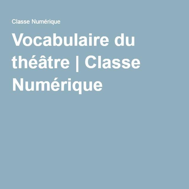 Vocabulaire du théâtre | Classe Numérique