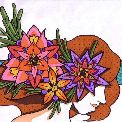 Ilustración hecha en base a dibujo entintado y rotuladores.