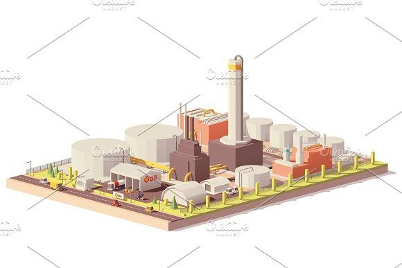 Vector low poly oil refinery plant #vector