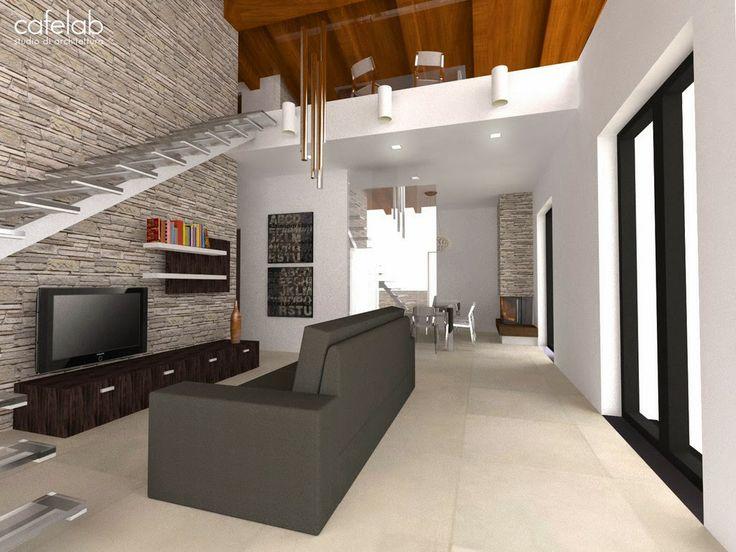 disposizione soggiorno con scala interna per secondo piano soppalco soggiorno e divani
