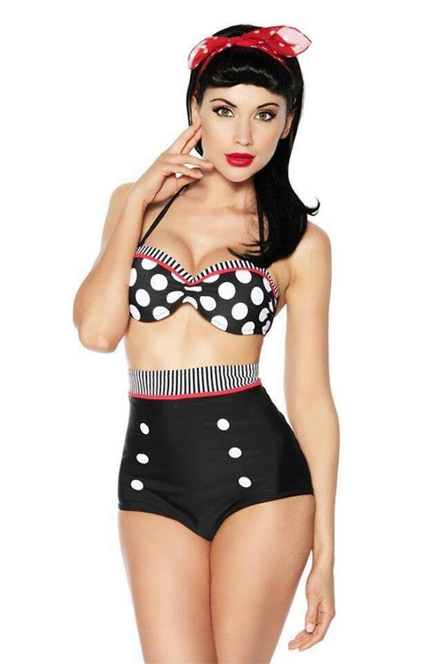 ♡ love everything --- hair, makeup, scarf, swimsuit!! :: Pin Up Girl Swimwear:: Retro bathing suits:: Polka Dot Bikini:: Vintage Bikini:: Highwaisted bikini bottoms