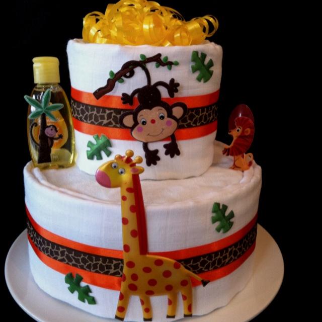 Jungle nappy cake - Maree Smiths Nappy Cakes on Facebook