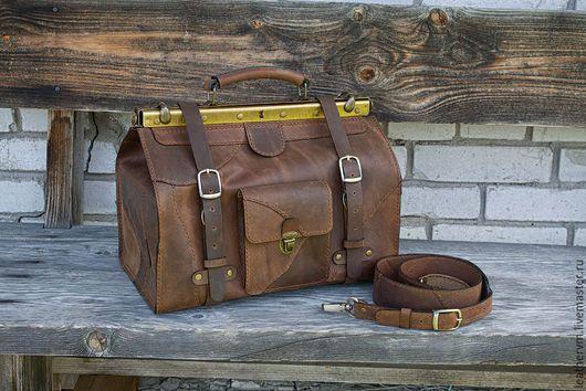 """Мужские сумки ручной работы. Ярмарка Мастеров - ручная работа. Купить Сумка саквояж """"Аль Капоне"""", кожа, коричневый,ручная работа. Handmade."""