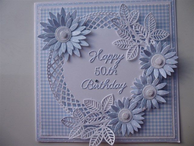 Commissioned 50th Birthday card. Blue this time | docrafts.com