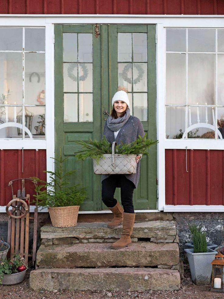 KLASSISK JUL PÅ KRÅKHULT   Julstämningen på Kråkhult är på topp. Trappan utanför den gamla glasverandan är välkomnande pyntad, med små granar, enar och röda äpplen. Mia har precis varit i skogen och hämtat granris för att lägga sista handen vid pyntet, sedan kan lugnet infinna sig. Det doftar gott av hyacinter, pepparkakor och gran inne i huset. Granris i korgar är ett enkelt sätt att skapa julstämning vid entrén.