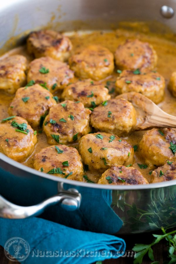 Chicken Meatballs in a Cream Sauce @NatashasKitchen