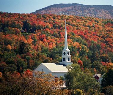 Stowe, Vermont.  This small valley town shines in autumn and winter. Great for fall visits and adventure vacations, it sees its fair share of leaf-peepers, hikers, skiers, and snowboarders.   Travel on Route 100. see article: http://www.travelandleisure.com/articles/americas-most-iconic-drives/15.  https://octtrip.wordpress.com/category/vermont/