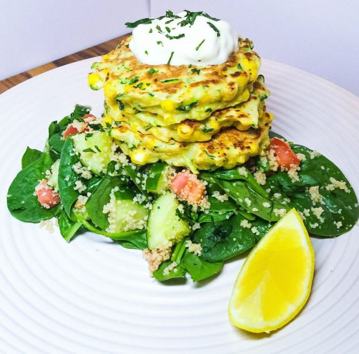 Easy Zucchini Fritters With Couscous Salad