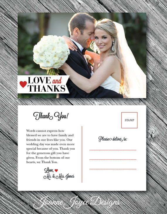 "Thank You Post Card | Double Sided Wedding  | Personalized Colour and Image | Modern Thank You |  4""x6"" on Etsy, $1.25 CAD"