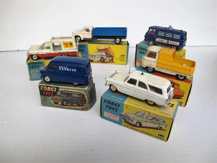 """Lot 615 - Corgi Toys, 403 Bedford """"Daily Express"""" Van, 464 Commer Police Van, 419 Ford Zephyr Motorway Patrol,"""