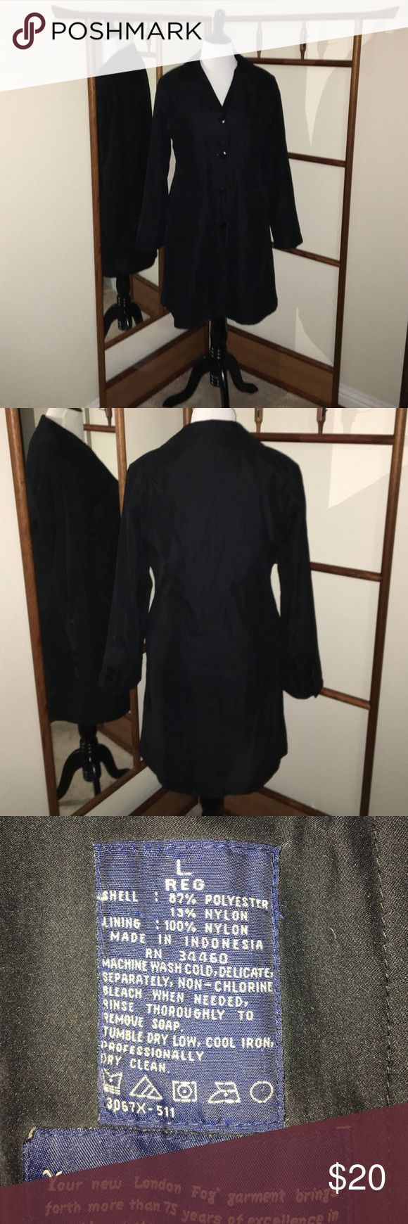 London Fog Black Sz L Water Resistant Coat Black Sz L,  London Fog Car Length Coat with zip out liner.  Great all year coat.  💋No trades or transactions on other sites💋Please use the Offer Button💋Happy Poshing💋 London Fog Jackets & Coats Trench Coats