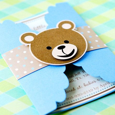 Gate Fold Teddy Bear Invitations  set of 12 by prettypaperparty, $30.00