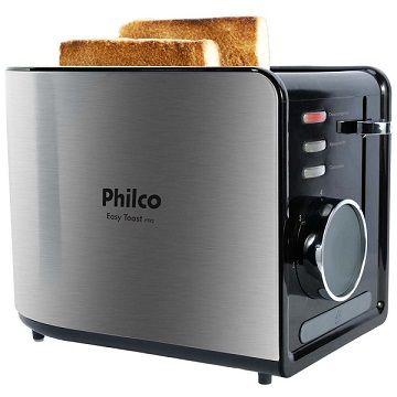 [.Frio] Torradeira Philco Easy Toast Ptr2 Aço Escovado/Preto - R$ 71,91