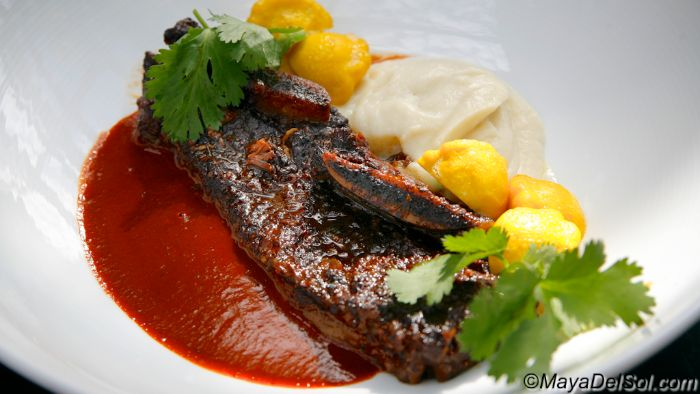 pasilla braised short rib | 12 oz. bone-in short rib · roasted celery root purée · patty pan squash · pasilla