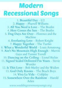 Modern Wedding Recessional Songs