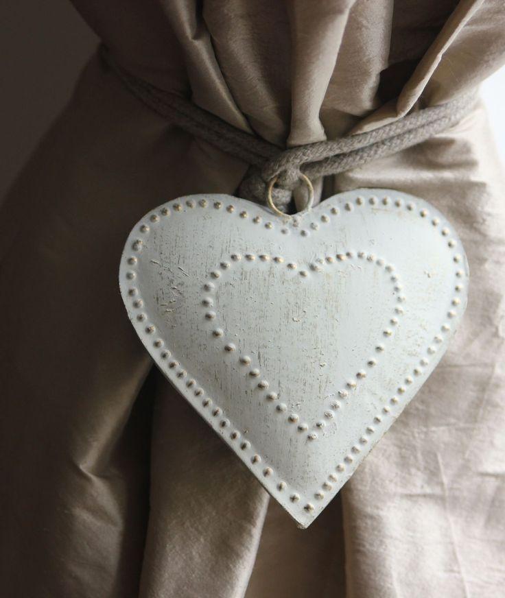 Cream metal heart curtain tie-backs (pair) - vintage/shabby chic | eBay