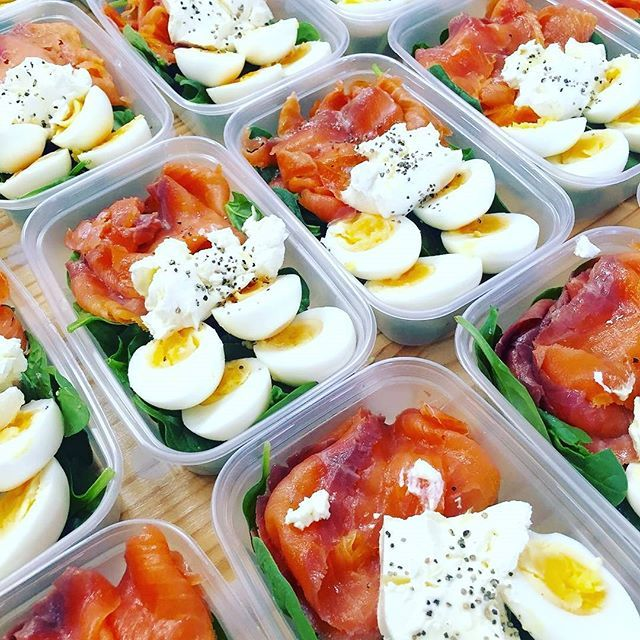 Pin for Later: 21 Simple Meal Prep Combinations Anyone Can Do Salmon + Eggs + Spinach
