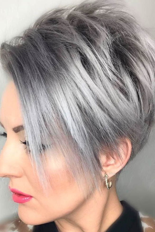 Kurzhaarfrisuren 2018 Damen Grau Haarfarbe #kurzhaarfrisuren
