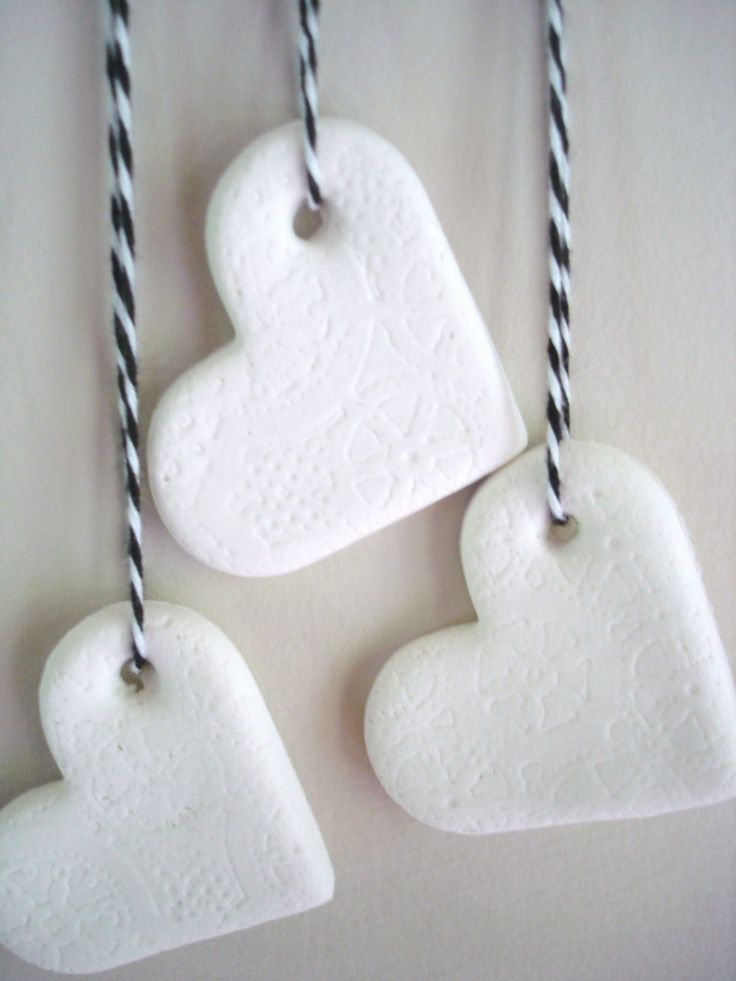 for our valentine's day/25th anniversary party! I plan to make these into a garland by tying several of them onto one cord, and making a knot in between the clay hearts